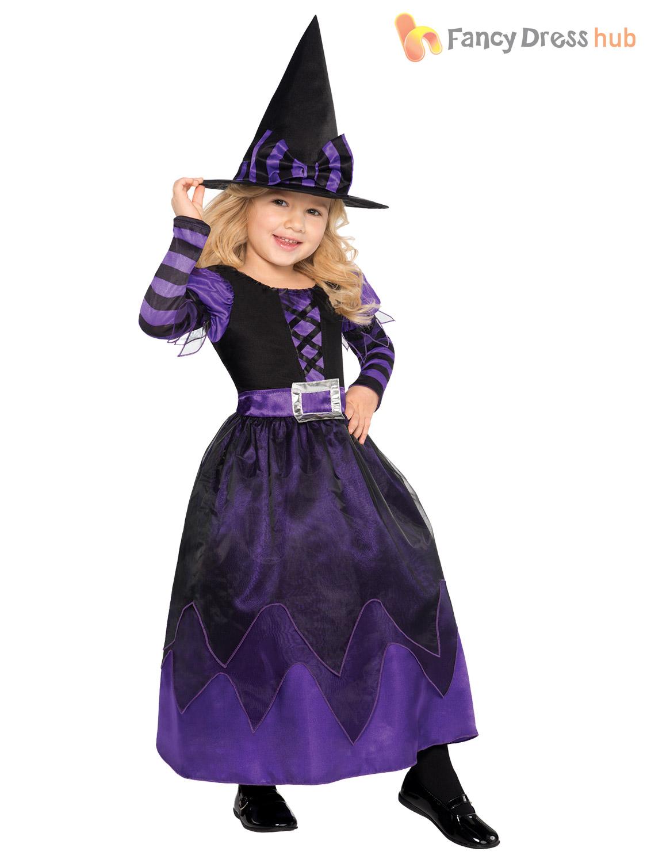 Age 3-10 Girls Halloween Witch Fancy Dress Costume Kids Childrens ...