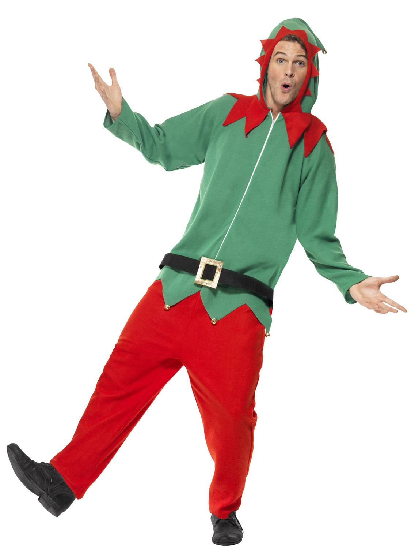 Mens Elf Costume Christmas Fancy Dress Outfit Santas Helper Elves ...