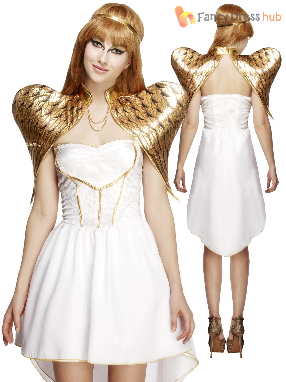 Ladies-Deluxe-Fever-Sexy-White-Angel-Fancy-Dress-Costume-Christmas-Womens-Xmas miniatuur 3