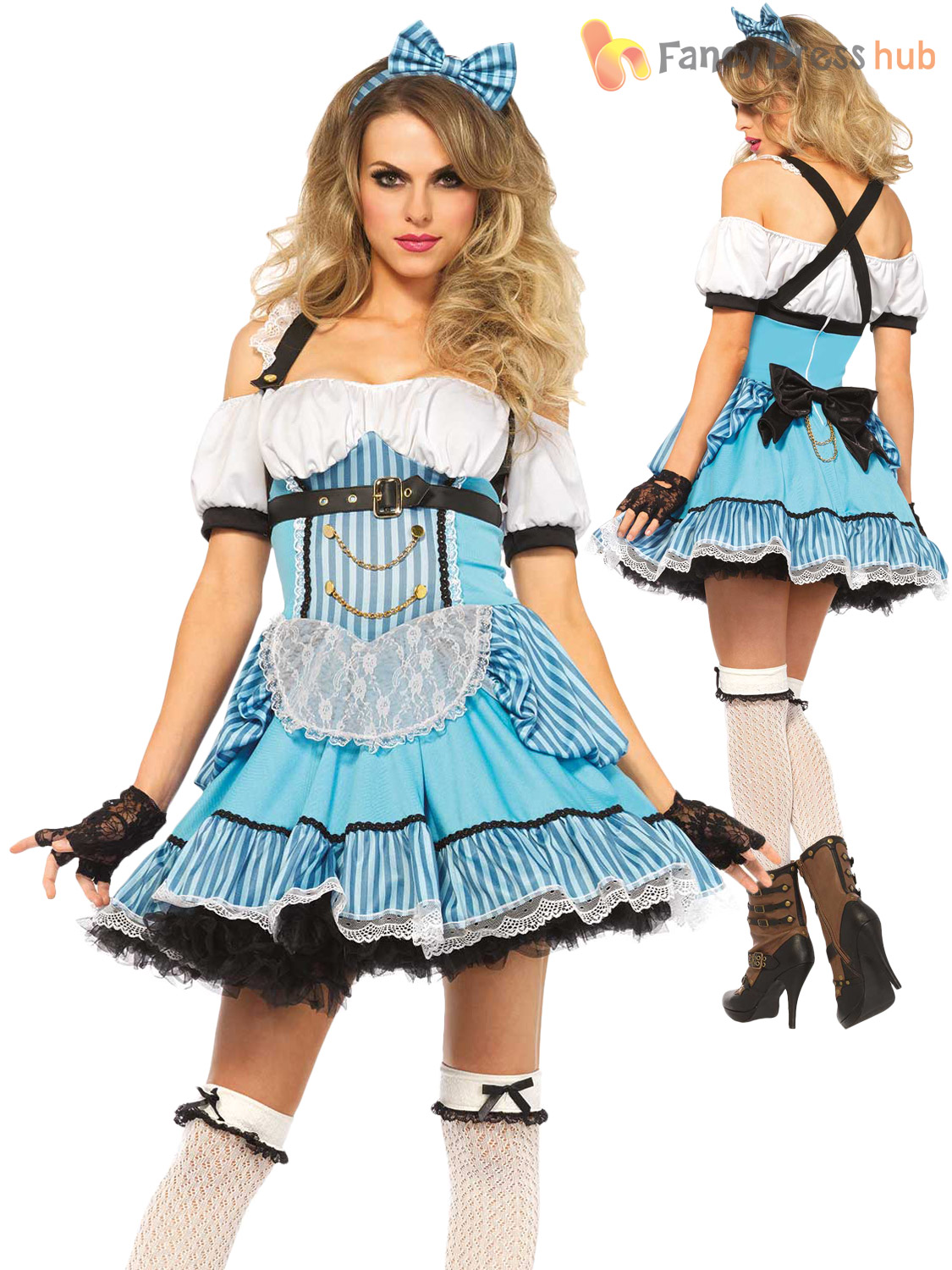 Adult Rebel Alice Tea Party Costume Ladies Fancy Dress Outfit Leg ...