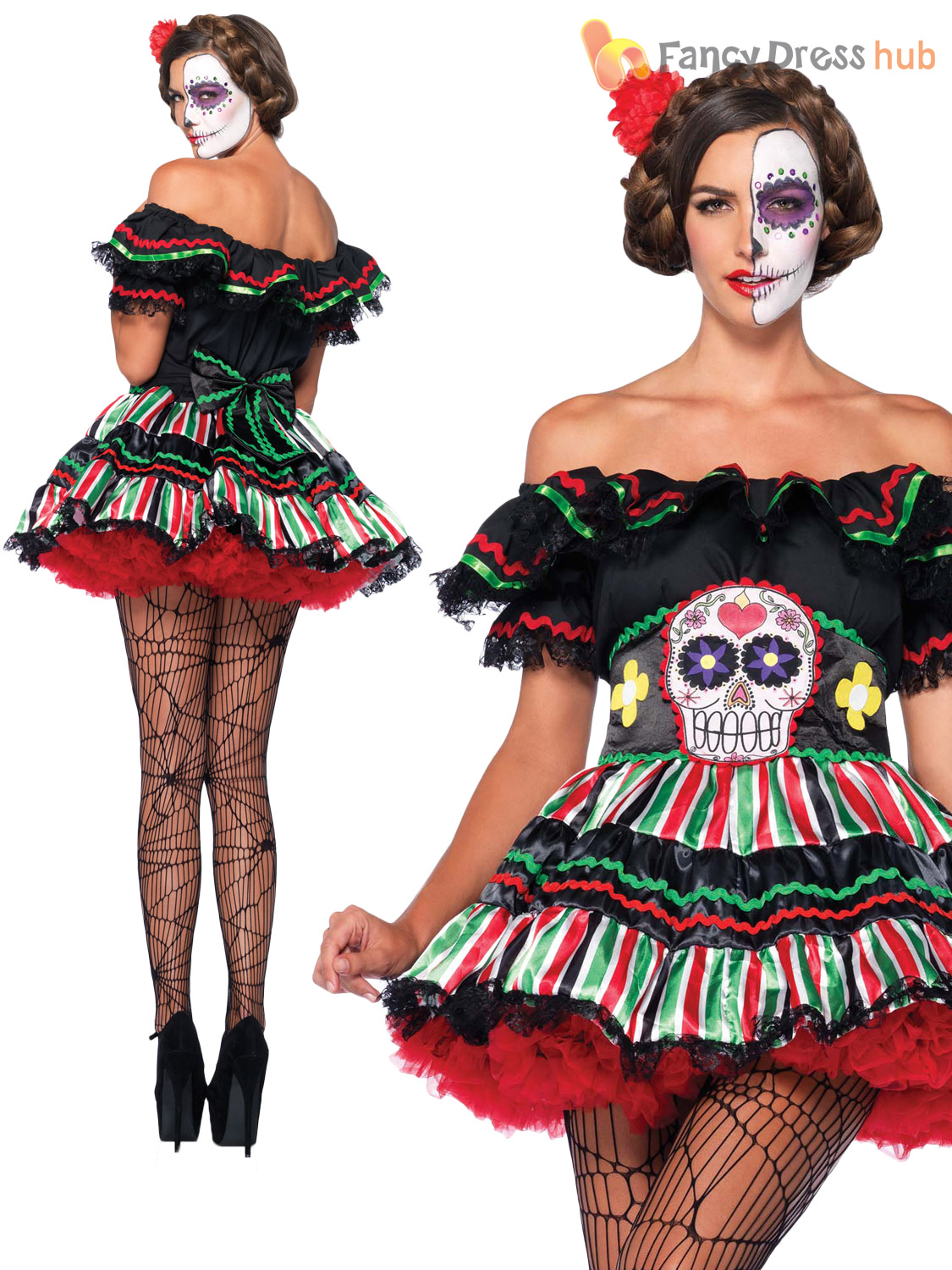 ... Picture 2 of 2  sc 1 st  eBay & Adult Day of The Dead Doll Plus Size Halloween Fancy Dress Costume ...