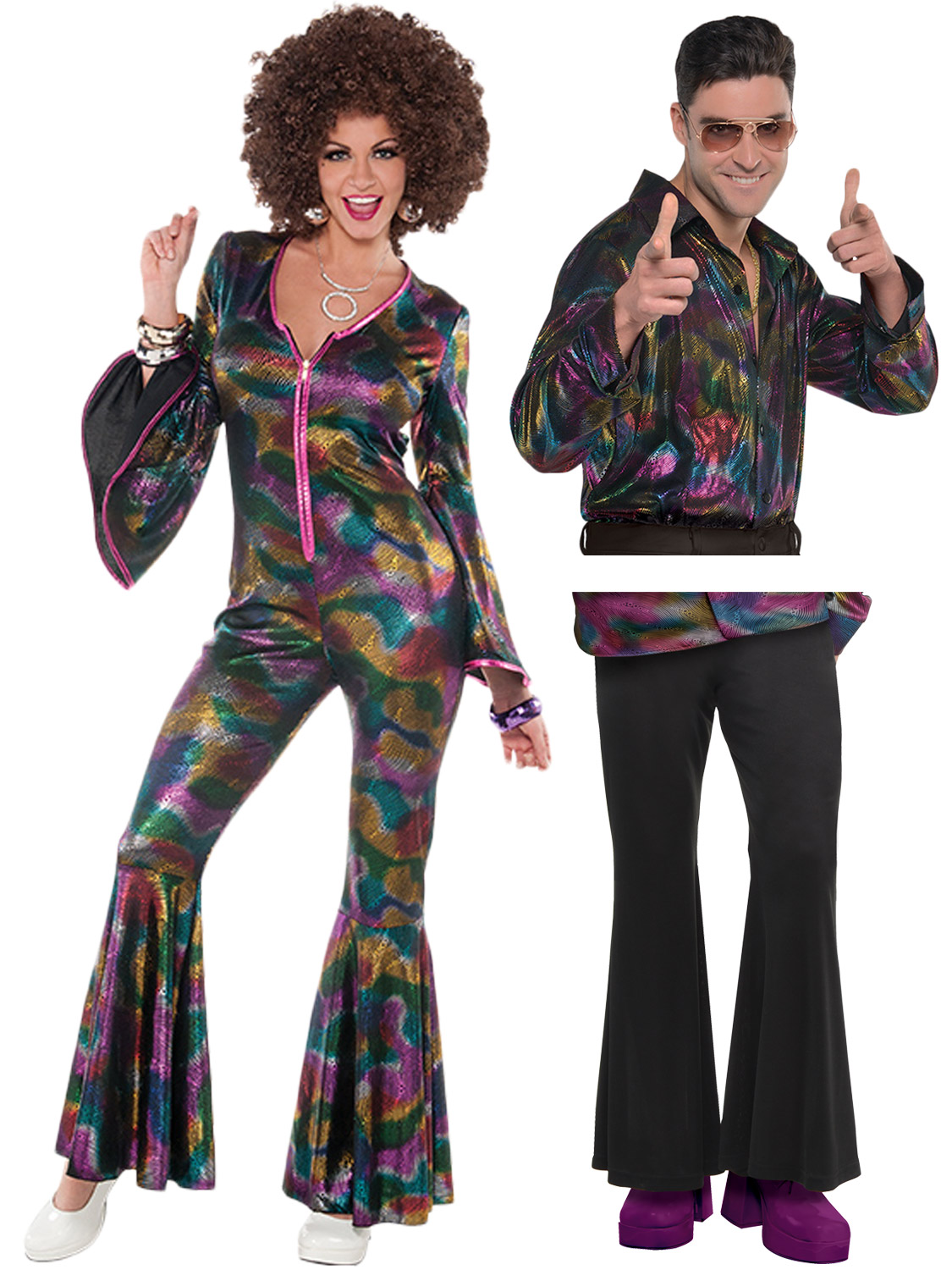 Ladies Mens 1970s Disco Fancy Dress Jumpsuit Shirt ...