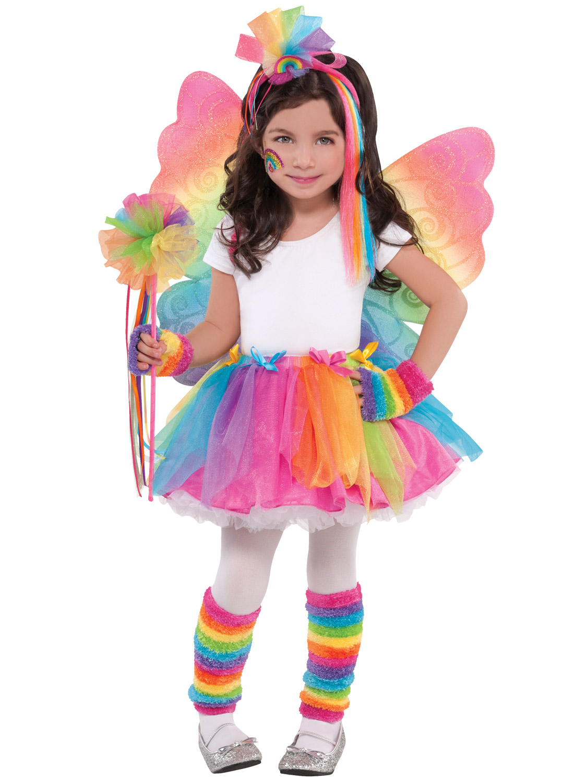 Image 3  sc 1 st  eBay & Girls Multicolour Rainbow Fairy Butterfly Wings Wand Fancy Dress ...