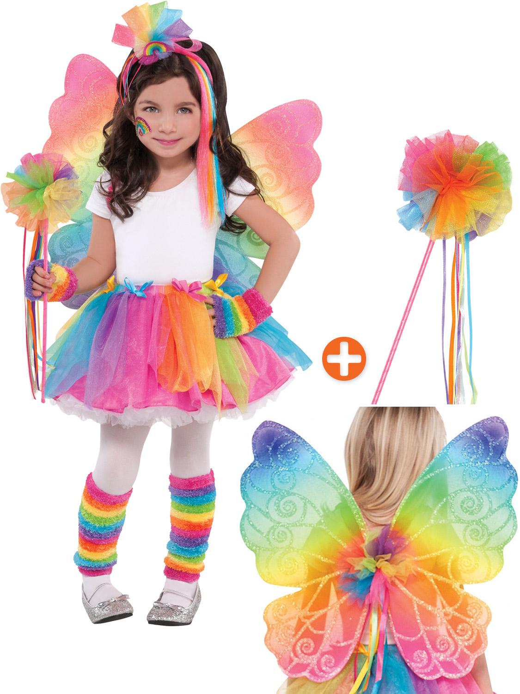 S Multicolour Rainbow Fairy Erfly Wings Wand Fancy Dress