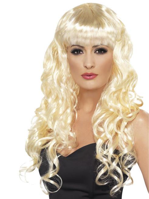 Ladies Blonde Long Curly Siren Wig