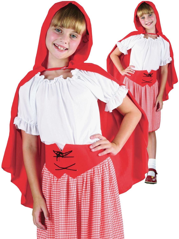 Kids Girls Red Riding Hood Costume Fancy Dress Book Week Fairytail 6-12 Years