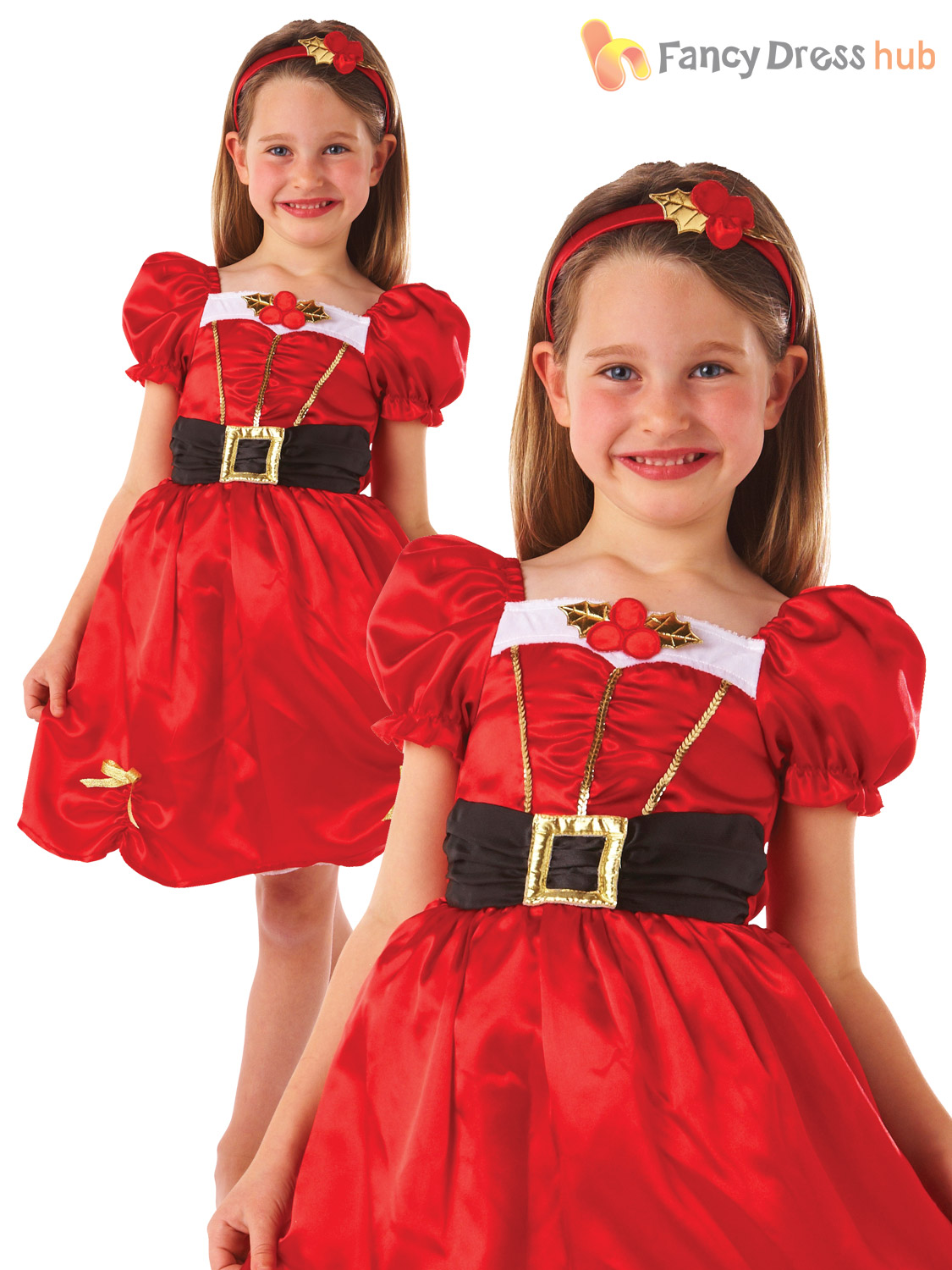 c19683f30b4 Details about Girls Miss Santa Christmas Costume Kids Mrs Claus Xmas Fancy  Dress Outfit Childs