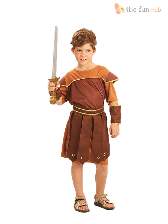 Boys-Roman-Gladiator-Costume-Warrior-Soldier-Fancy-Dress-  sc 1 st  eBay & Boys Roman Gladiator Costume Warrior Soldier Fancy Dress Outfit Kids ...