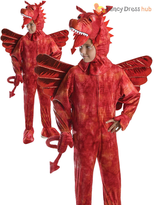 Kids Red Dragon Costume Merlin Fairytale Fancy Dress Book Week Outfit Boys Girls