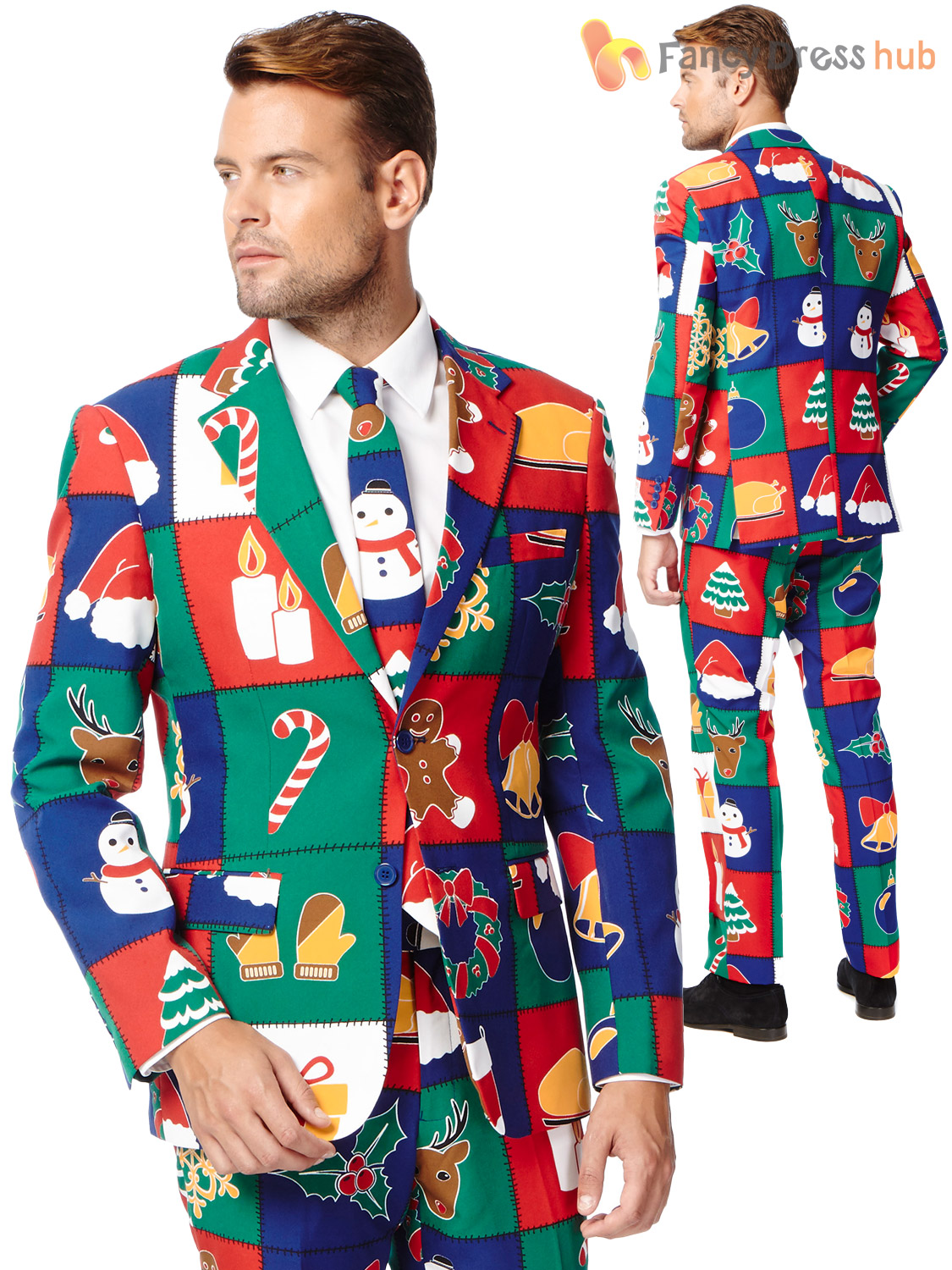 Christmas Suit.Details About Mens Deluxe Christmas Opposuit Adult Xmas Festive Oppo Suit Fancy Dress Costume