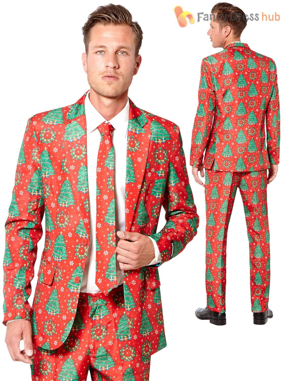 Mens Christmas Tree Suitmeister Suit Xmas Party Festive