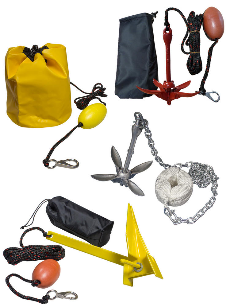 Folding Anchor Kits Kayaks Canoes Dinghy Boats Chain Rope Rubberised Sand Bag
