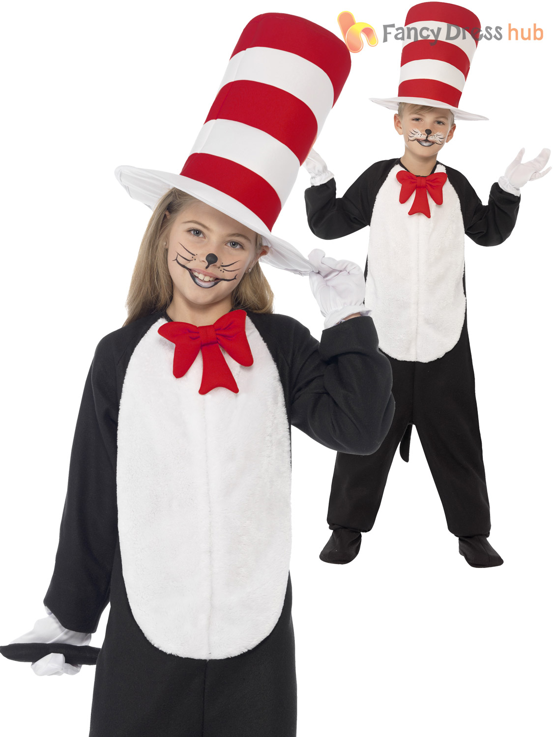 Kids Cat In The Hat Costume Dr Seuss Thing 1 2 Girls Boys Fancy