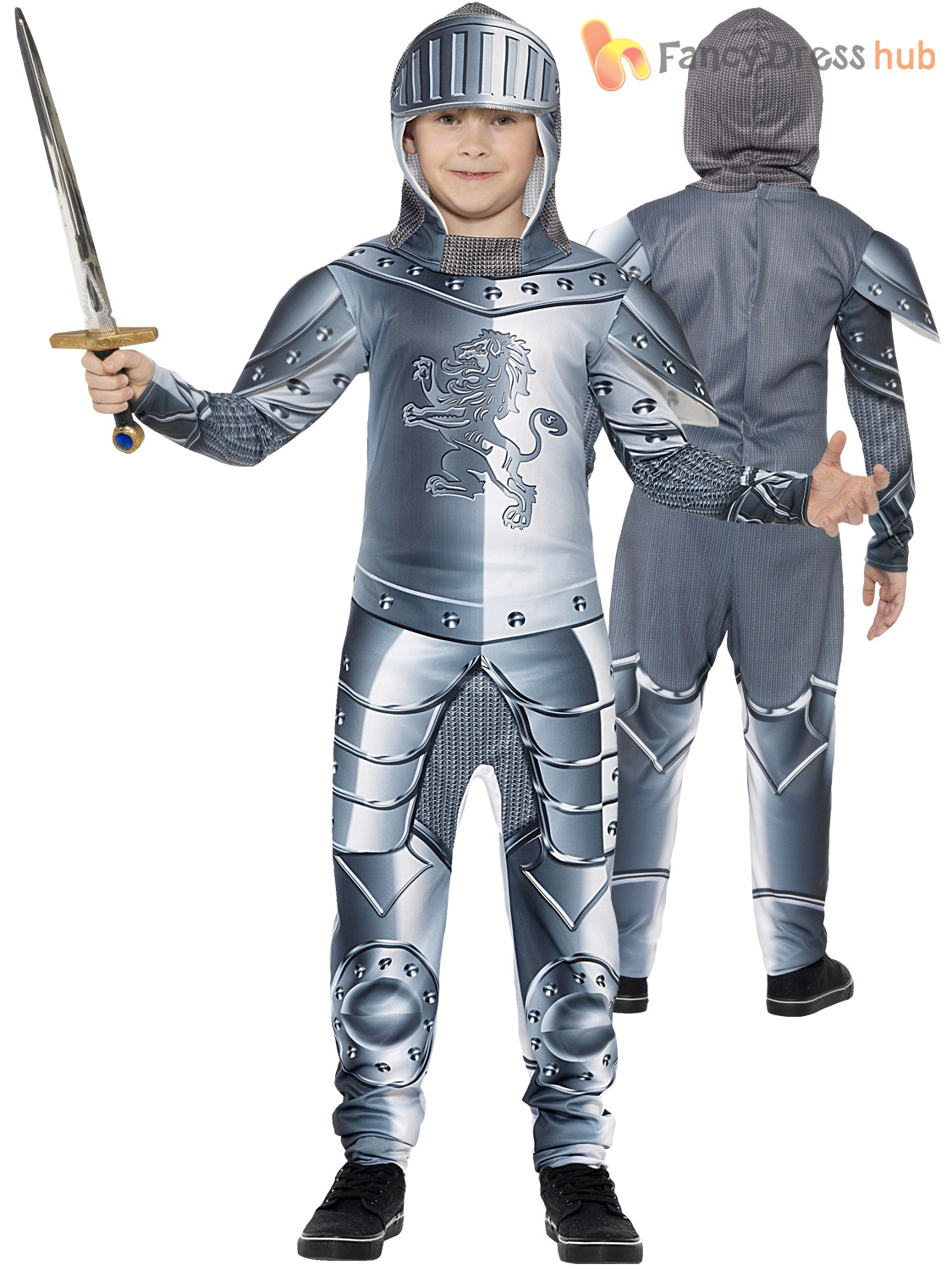 Boys-Medieval-Knight-Costume-Childs-Suit-of-Armour-Fancy-Dress-Book-Day thumbnail 3