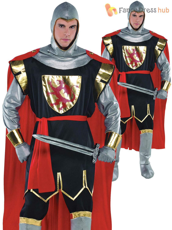 Mens Zombie Crusader Medieval Knight Halloween Fancy Dress Costume