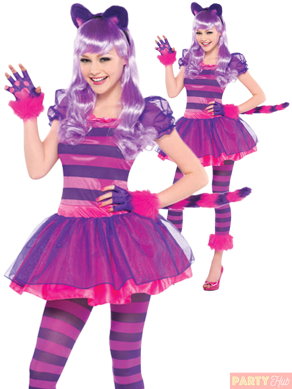 Girls Cheshire Cat Costume Teen Pink Kitty Fancy Dress Halloween
