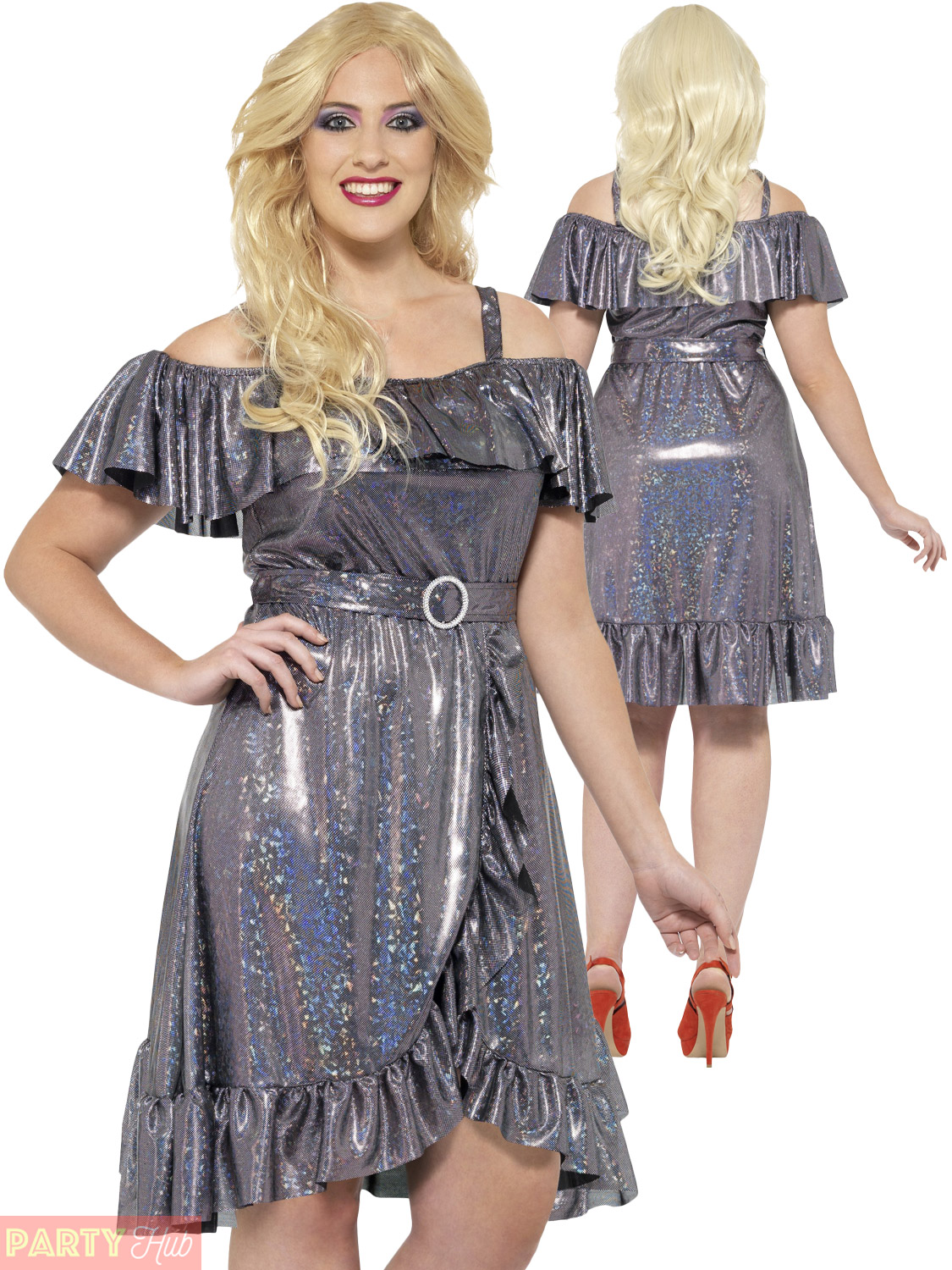 Ladies Plus Size Disco Diva Costume 70s 80s Fancy Dress Womens ...