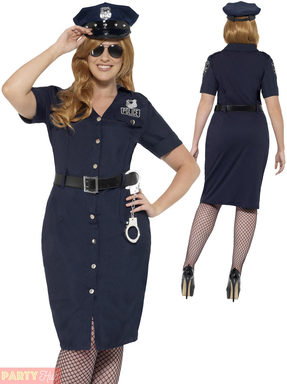 Mens Ladies Police Cop Costume Plus Size Policewoman Policeman Fancy