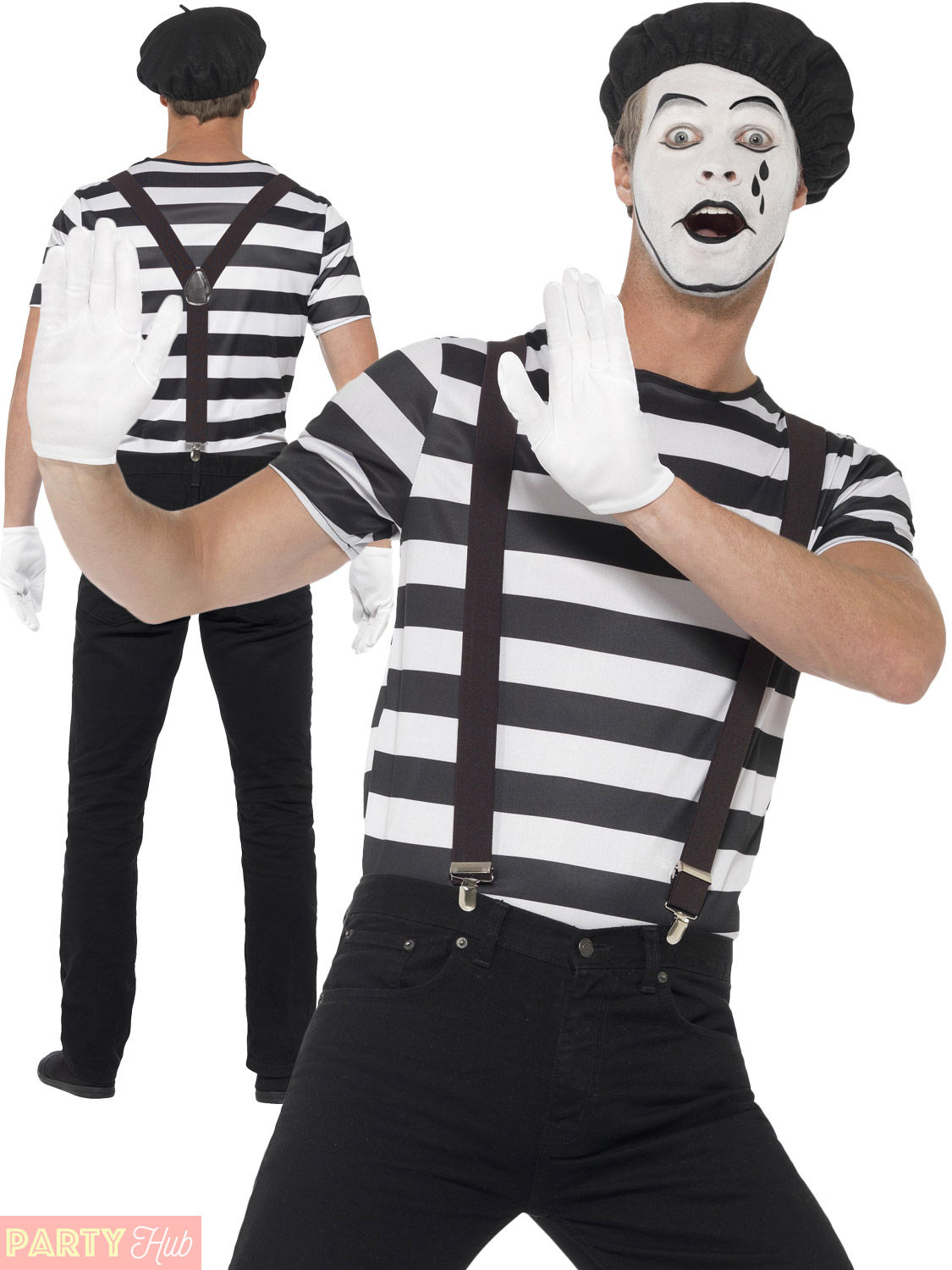 Adults Mime Artist Fancy Dress Mens Ladies French Circus
