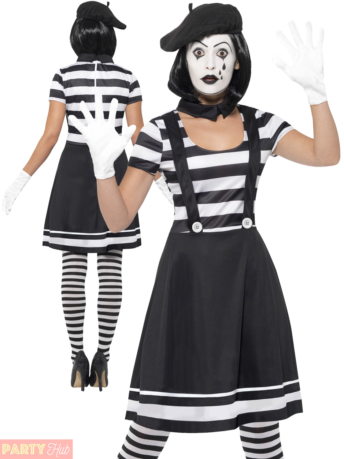 French Lady Mime Artist Adult Costume