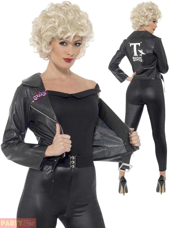 Womens Sandy Final Scene from Grease Movie Fancy Dress Costume Jacket Leggings