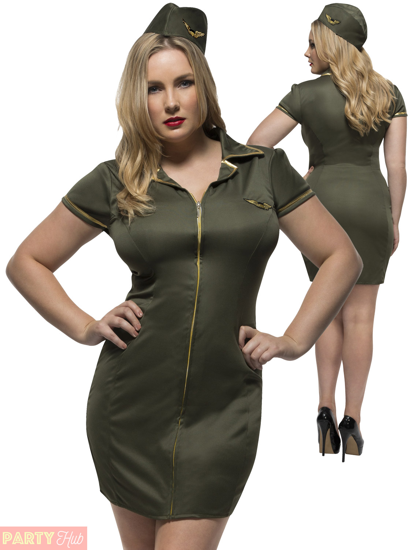 Ladies Plus Size Uniform Fancy Dress Adults Army ...