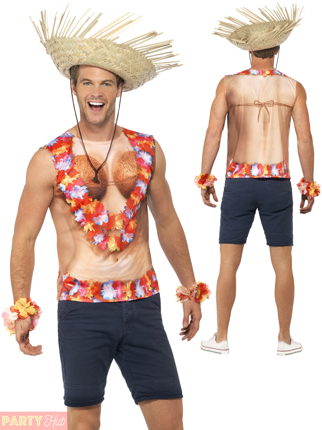Adult Hawaiian Vest T-Shirt Mens Flowers Coconuts Lie Fancy Dress Costume Outfit | eBay