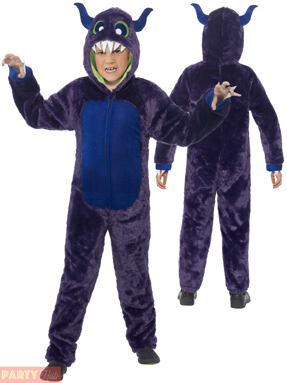kids monster costume boys girls purple outfit fancy dress halloween