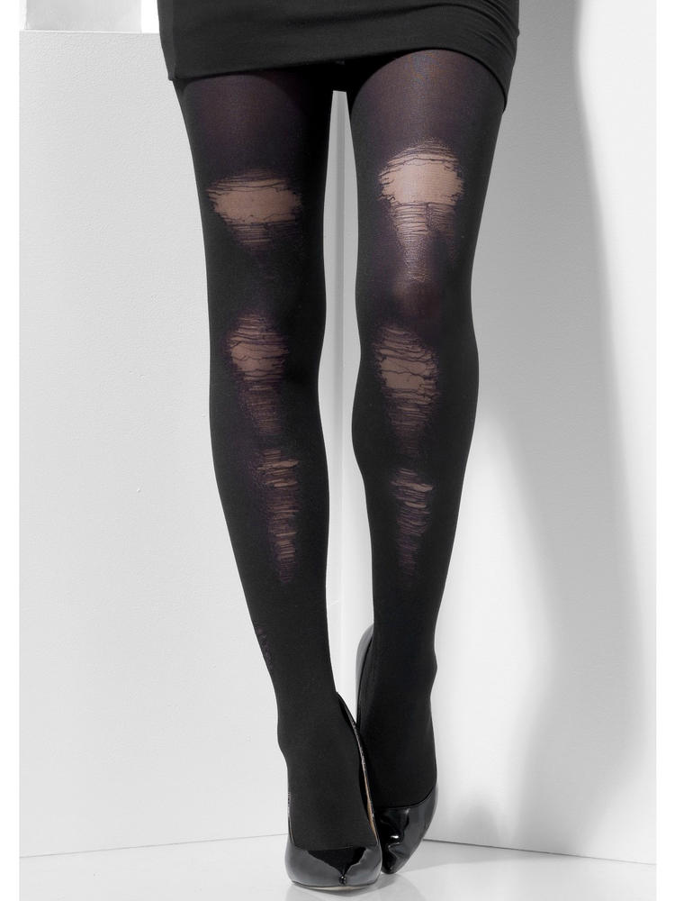 Ladies Black Distressed Tights