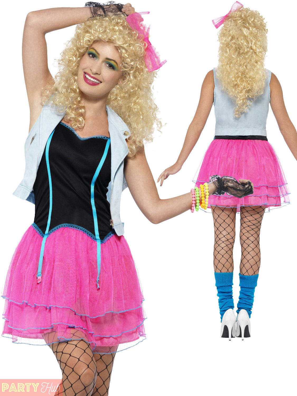 Ladies 80s Costume 1980s Neon Roller Disco Pop Star Fancy Dress Womens Outfit Ebay
