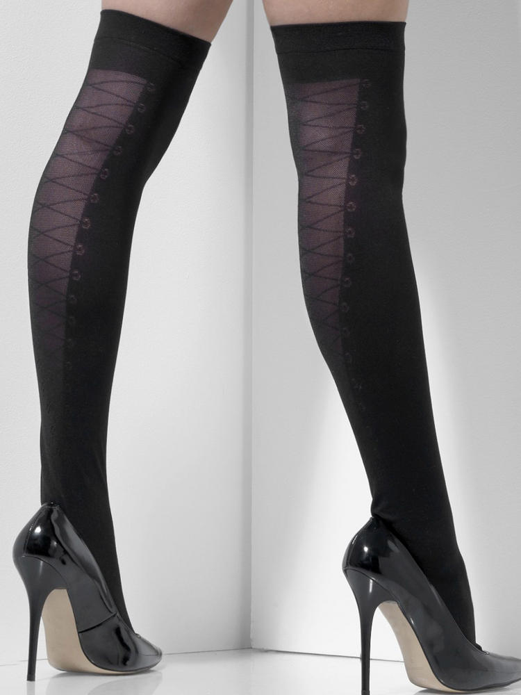 Ladies Black Hold-Ups with Mock Lace
