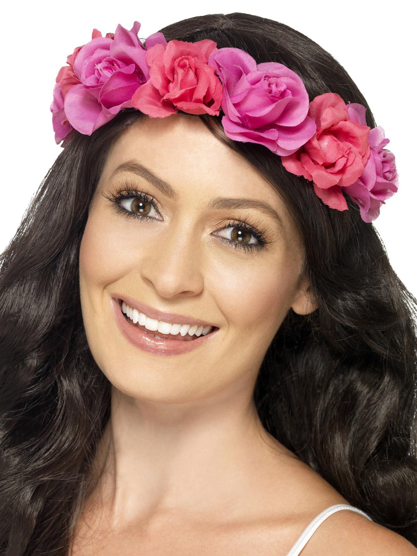 Adults Pink Floral Headband Ladies Hawaiian Fancy Dress Accessory