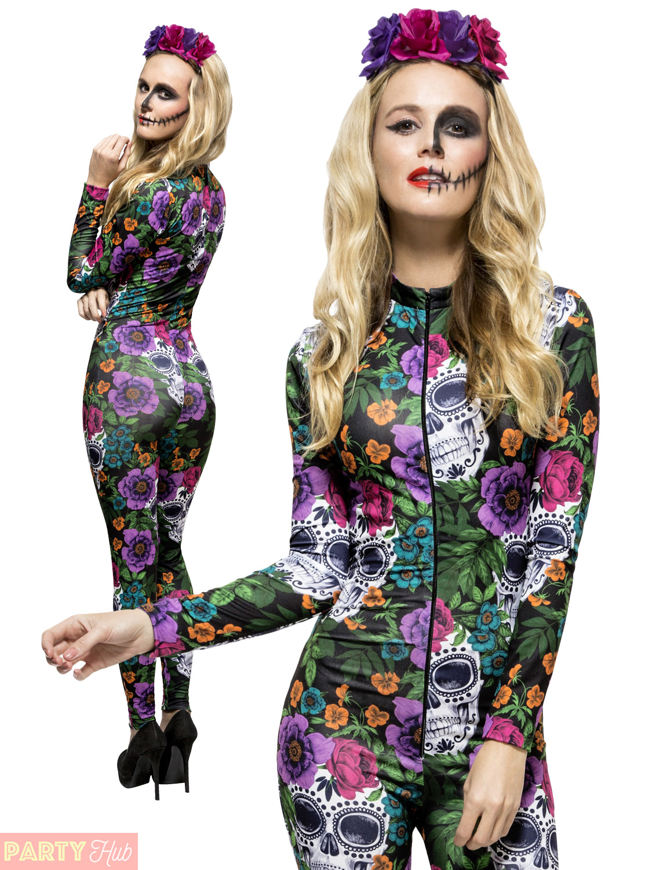 Womens Day of the Dead Costume Catsuit Sugar Skull Ladies Halloween Fancy Dress   eBay