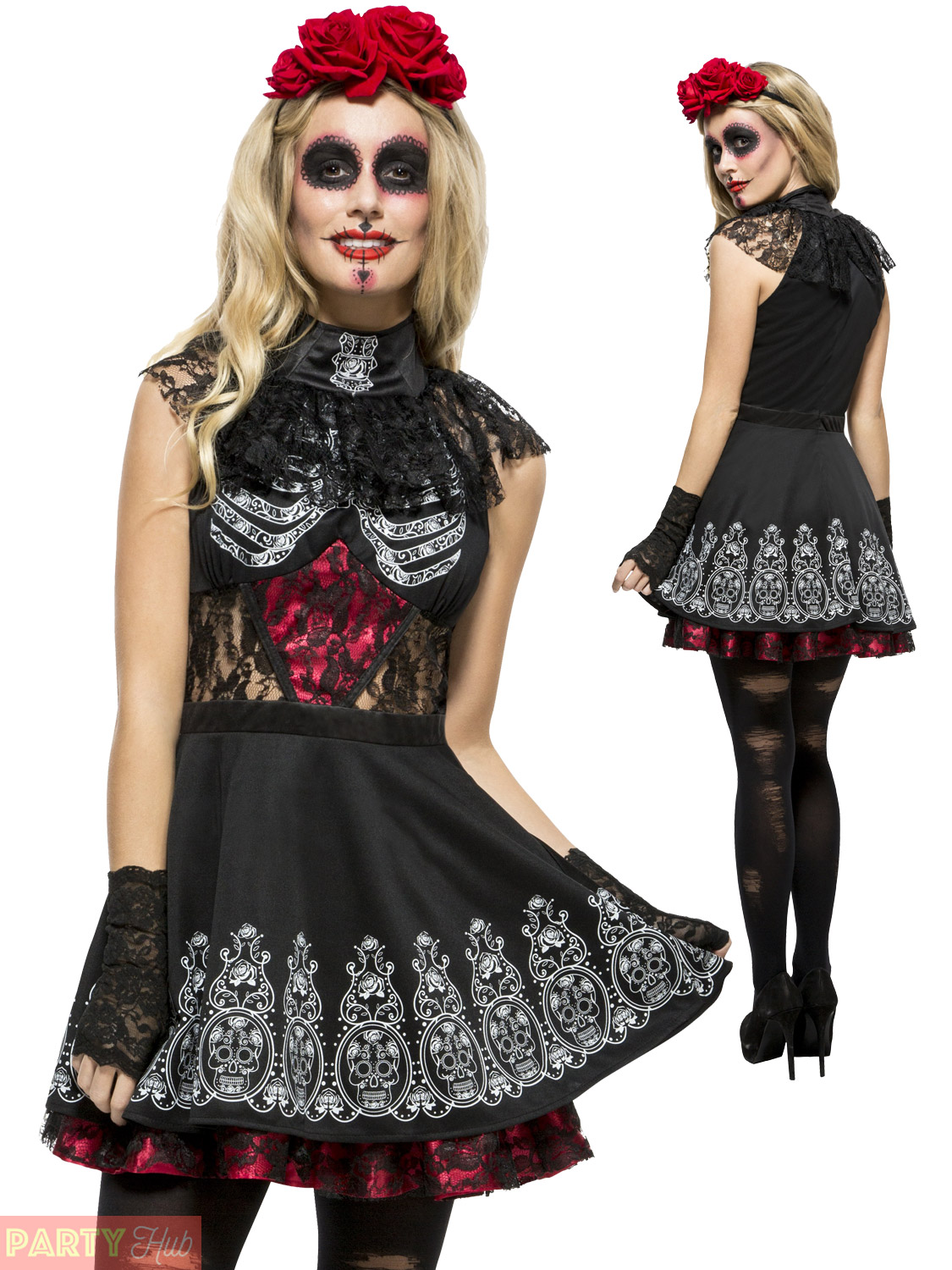 dafd1681385 Ladies Day of the Dead Costume Sugar Skull Skeleton Womens Halloween ...