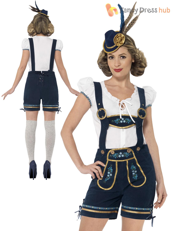 Ladies-Deluxe-Lederhosen-Oktoberfest-Costume-Adult-Traditional-Fancy-  sc 1 st  eBay & Ladies Deluxe Lederhosen Oktoberfest Costume Adult Traditional Fancy ...