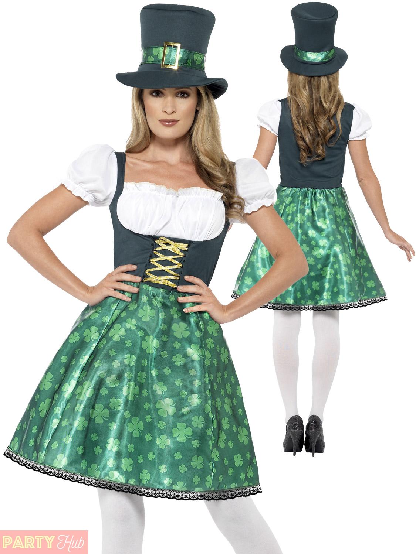 0b2ec7ac55bd37 Ladies Leprechaun Lass Costume Adults Irish Ireland St Patricks Day ...