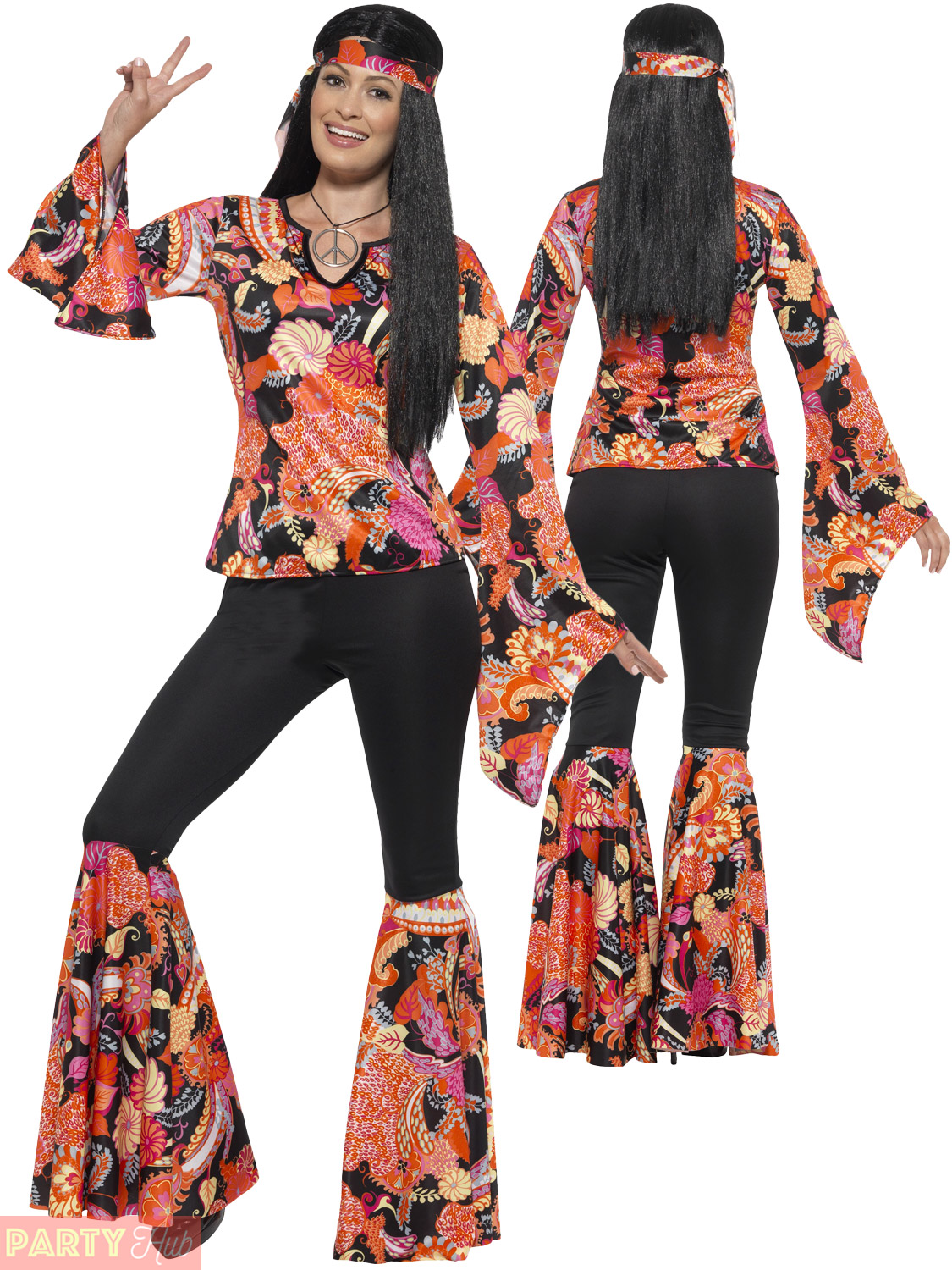 Ladies Hippie Hippy Flares + Top Costume Adult 60s 70s ...