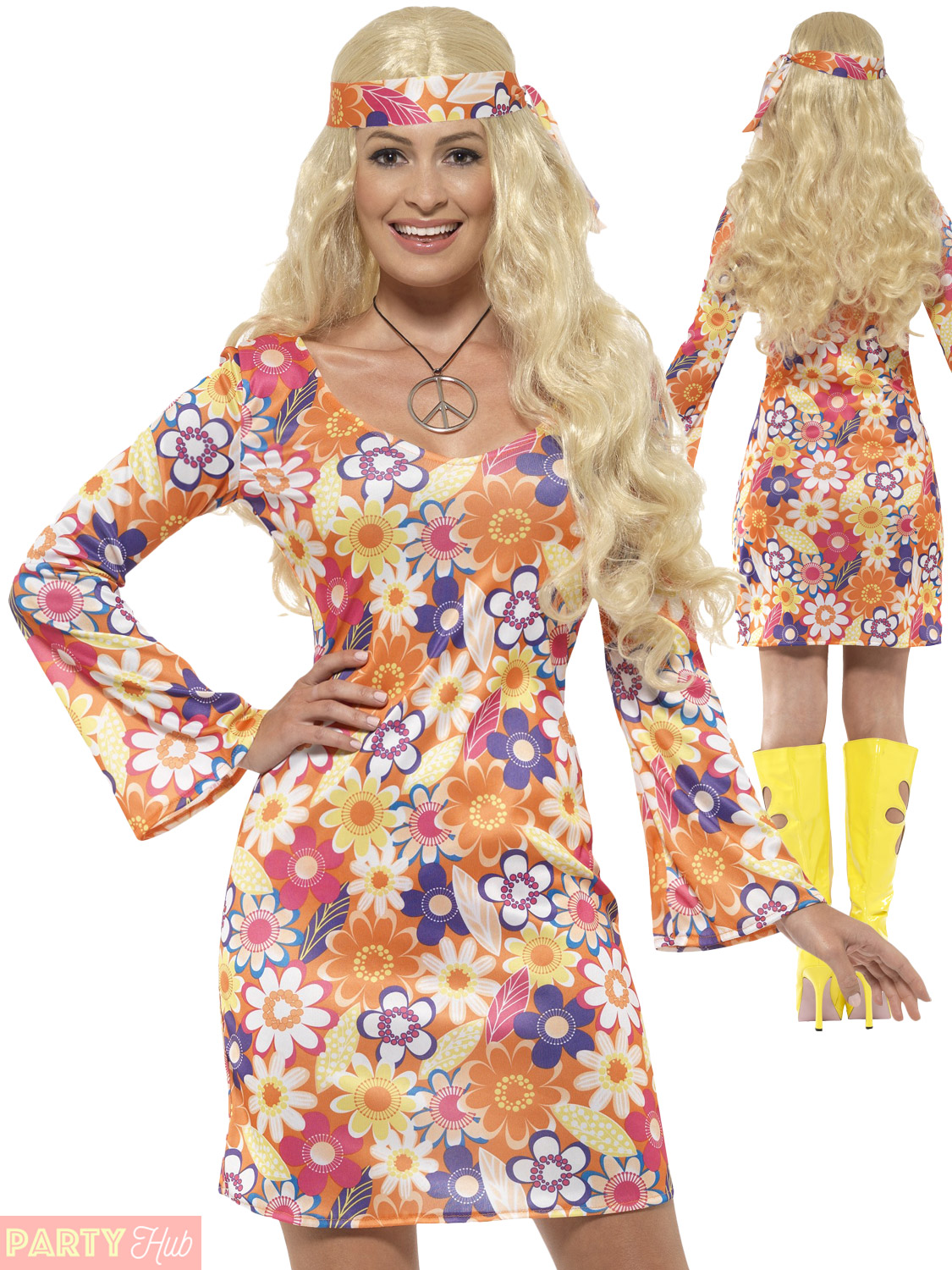 70s Psychedelic Hippie Fancy Dress Outfit 60s Hippy Chick Lady Costume UK 8-18