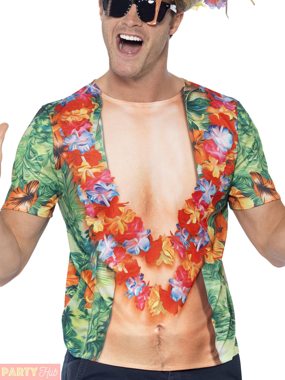 Adult-Hawaiian-Vest-T-Shirt-Mens-Flowers-Coconuts-Lie-Fancy-Dress-Costume-Outfit