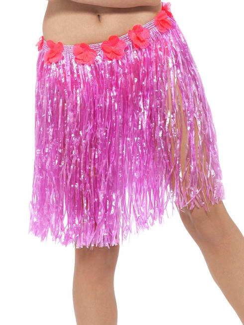 Pink Hawaiian Hula Skirt with Flowers
