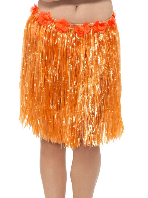 Orange Hawaiian Hula Skirt with Flowers