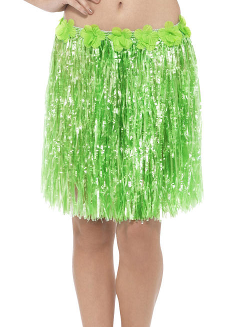 Green Hawaiian Hula Skirt with Flowers