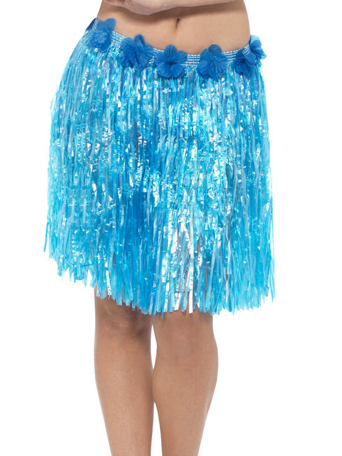 Blue Hawaiian Hula Skirt with Flowers