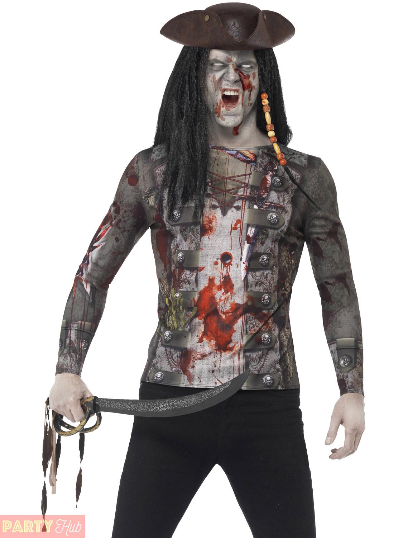 zombie pirate t shirt mens ladies halloween fancy dress. Black Bedroom Furniture Sets. Home Design Ideas