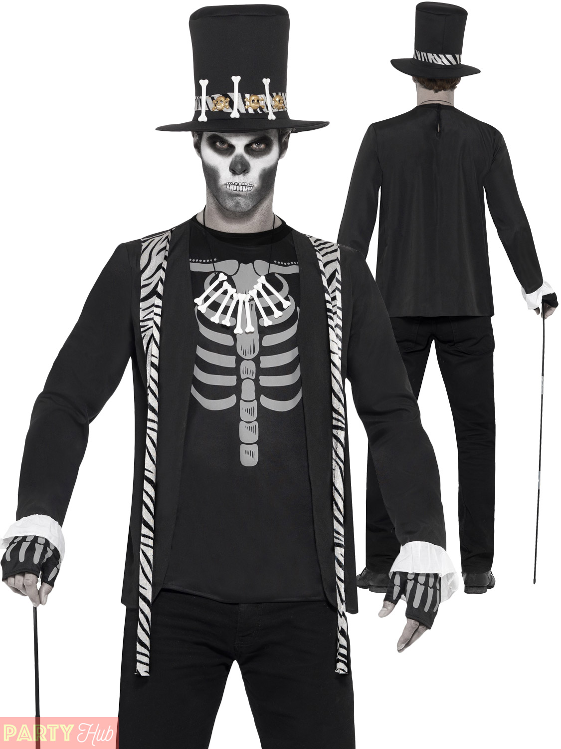 f169db19ff3 Details about Mens Witch Doctor Costume Voodoo Man Halloween Skeleton Fancy  Dress Party Outfit