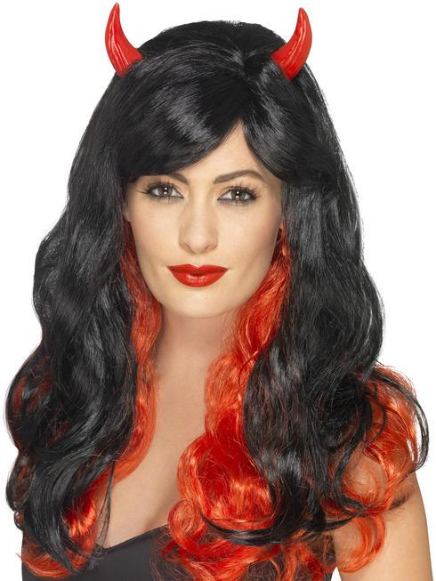 Black & Red Devil Wig with Horns