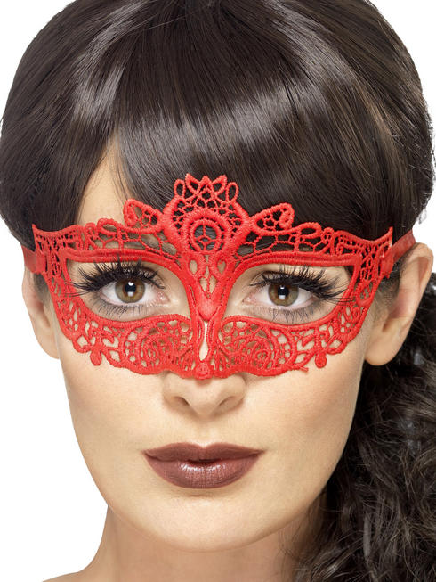 Red Embroidered Lace Filigree Eyemask