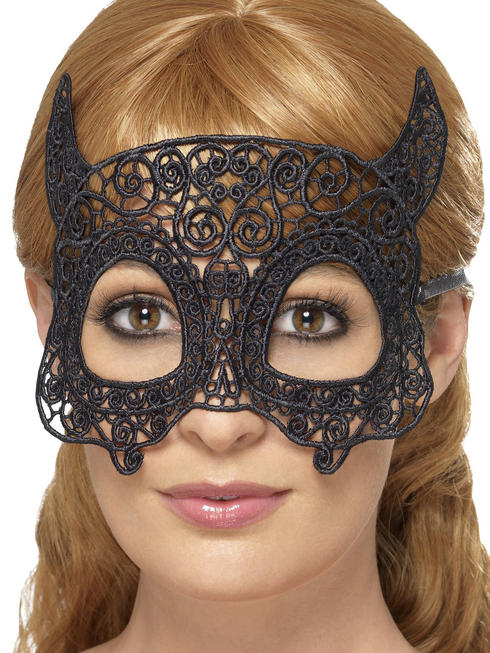 Black Devil Embroidered Lace Filigree Eyemask