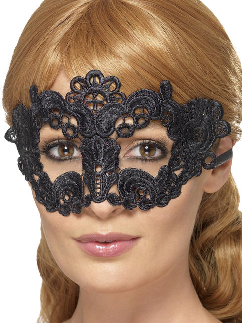 Black Floral Embroidered Lace Filigree Eyemask