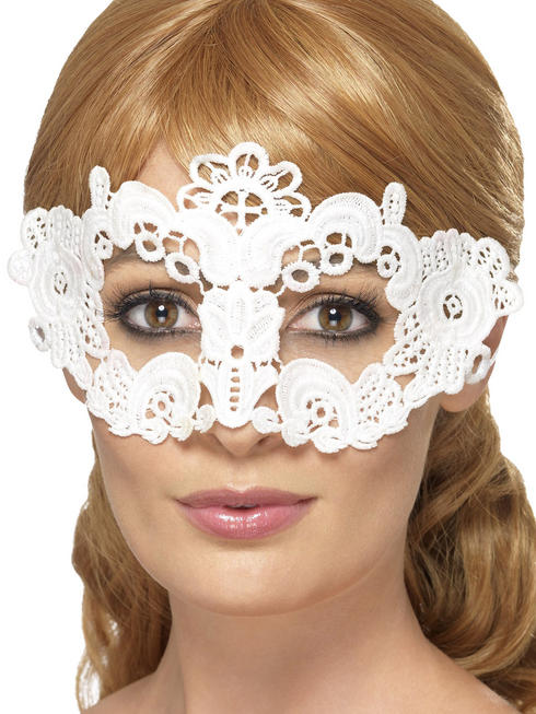 White Floral Embroidered Lace Filigree Eyemask